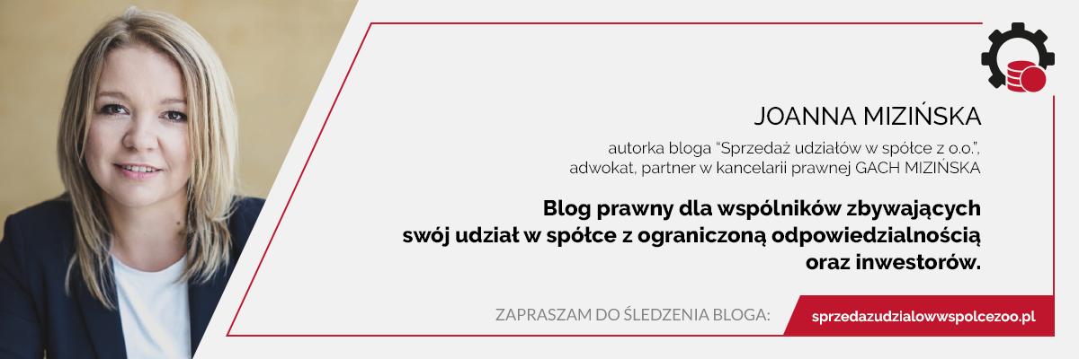 Joanna Mizińska o sprzedaży udziałów w spółce z o.o.
