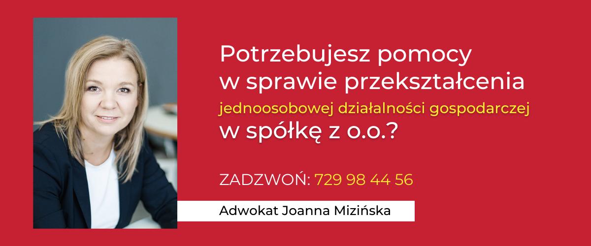 Mizińska - przekształcenie JDG współkę zo.o.